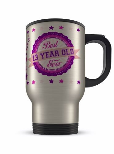 14oz Best Ever Age 13 - 100 Novelty Gift Aluminium Travel Mug - Pink/Purple
